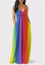 fuchsia Casual lower O-Neck Sleeveless Irregular skirt Long Maxi Dresses