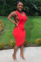 Red Polyester Fashion adult Street Red Black Grey Wine Red Tank Sleeveless Slip Step Skirt Knee-Length Patchwork Solid split Dresses