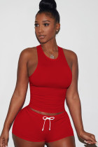 Red knit Sexy Patchwork Two Piece Suits Solid Straight Sleeveless  Two-Piece Short Set