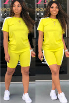 Yellow Polyester Fashion Casual adult Ma'am Patchwork Solid Two Piece Suits Straight Short Sleeve Two Pieces
