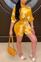 Yellow venetian Fashion Casual adult Ma'am Patchwork Print asymmetrical Two Piece Suits pencil Short Sleeve Two Pieces