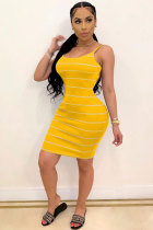 Yellow Polyester Fashion adult Sweet Red Black Grey Yellow Spaghetti Strap Sleeveless Slip A-Line Knee-Length Striped Print Patchwork Dresses