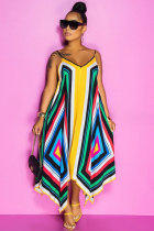 multicolor Polyester Fashion adult Sweet Decorative pattern multicolor Spaghetti Strap Sleeveless Slip Ankle-Length Print Patchwork Geometric Floral asymmetrical Dresses