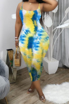 Light Blue Polyester Fashion Sexy adult White Green Light Blue Spaghetti Strap Sleeveless Square Step Skirt Mid-Calf Print Patchwork backless Tie and dye Dresses