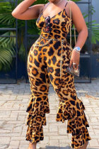 Leopard print Polyester Fashion Sexy adult Slip Leopard Patchwork Print backless Stitching Plus Size