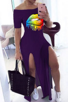 purple Polyester Fashion Sexy adult Black Grey purple Cap Sleeve Short Sleeves One word collar A-Line Print Patchwork split lip Dresses