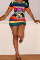 cartoon Fashion Casual cartoon multicolor Cap Sleeve Short Sleeves O neck Step Skirt skirt Striped Print Dresses