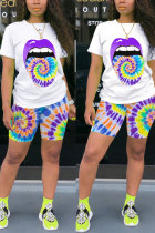purple Polyester Fashion Active Casual Patchwork Print Tie Dye Straight Short Sleeve Two Pieces