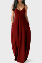 Wine Red Milk. Fashion Sexy Casual Spaghetti Strap Sleeveless Slip Princess Dress Floor-Length Solid Dresses