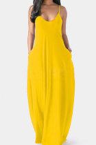 Yellow Milk. Fashion Sexy Casual Spaghetti Strap Sleeveless Slip Princess Dress Floor-Length Solid Dresses