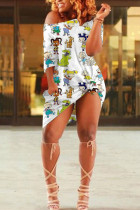 White Cotton Fashion Sexy One Shoulder Half Sleeves one shoulder collar Step Skirt Knee-Length Print Dresses