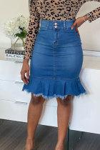 Blue Denim Button Fly Sleeveless High Patchwork Solid Hip skirt Capris Bottoms