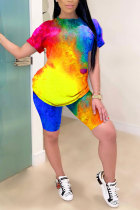 Yellow Polyester OL Fashion adult Two Piece Suits Patchwork Tie Dye Print pencil Short Sleeve  Two-Piece Sh