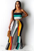 Yellow Polyester Fashion Sexy Geometric crop top Bandage Patchwork Draped Striped asymmetrical Slim fit Two