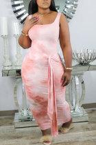 Pink Fashion Sexy Green Pink Sleeveless Slip Step Skirt Ankle-Length Print Dresses