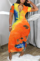 Orange Fashion adult OL Blue Green Pink Orange rose red Cap Sleeve Short Sleeves O neck Step Skirt Ankle-Length Print Patchwork Tie and dye chain Dresses