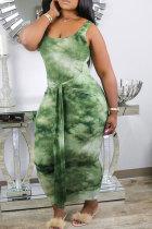 Green Fashion Sexy Green Pink Sleeveless Slip Step Skirt Ankle-Length Print Dresses