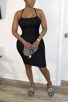 Black Polyester Fashion adult OL White Black Orange Off The Shoulder Sleeveless Slip Step Skirt Knee-Length Patchwork Solid backless Dresses