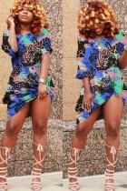 Blue Fashion Casual Blue Yellow purple Cap Sleeve Short Sleeves O neck cake dress Knee-Length Print Dresses