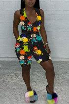 Black Fashion street Print Patchwork zipper Polyester Sleeveless V Neck Jumpsuits