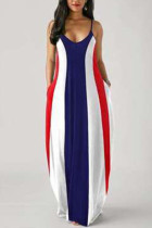 multicolor Cotton Fashion Casual Black and white multicolor Spaghetti Strap Sleeveless V Neck Swagger Floor-Length Print Dresses