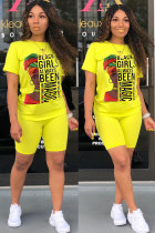 Yellow Polyester Fashion adult Street Letter Patchwork Print Two Piece Suits Straight Short Sleeve Two Pieces