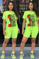 Fluorescent green Polyester Fashion adult Street Letter Patchwork Print Two Piece Suits Straight Short Sleeve Two Pieces