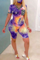purple Polyester Fashion Casual adult Patchwork Print Tie Dye Two Piece Suits Straight Short Sleeve Two Pieces