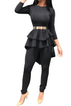 Black Elastic Fly Mid ruffle Patchwork pencil Pants  Two-piece suit
