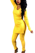 Yellow Elastic Fly High Solid pencil Pants  Two-piece suit