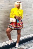 Multi-color Polyester Elastic Fly High Geometric Metal Dot Print Pleated skirt shorts