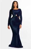 Blue Fashion Long Sleeves O neck Mermaid Floor-Length  Vintage Dresses