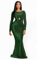 Green Fashion Long Sleeves O neck Mermaid Floor-Length  Vintage Dresses