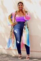 Rainbow color V Neck Print Rainbow Polyester Others Nine Sleeves  Blazer & Suits &Jacket