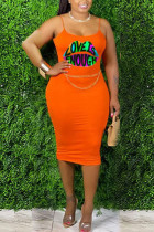 Orange Cotton Fashion Sexy adult Ma'am Orange Yellow watermelon red Off The Shoulder Sleeveless Slip A-Line Knee-Length Print Character lip Dresses