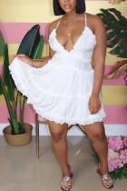 White Sleeveless V Neck Knee-Length Patchwork Stringy Selvedge Solid Draped Backless Ruffle Dresses