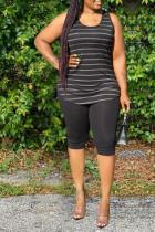Black blend Casual Slip Striped Print Two Piece Suits Stripe Plus Size