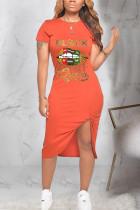 Orange Polyester Fashion Casual adult Black Orange Cap Sleeve Short Sleeves O neck Asymmetrical Mid-Calf Print Patchwork Character lip asymmetrical Dresses