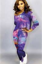 purple Cotton Sexy Two Piece Suits Print pencil Long Sleeve