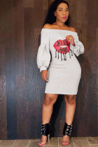 White Sexy Fashion lantern sleeve Off The Shoulder Long Sleeves One word collar Step Skirt Knee-Length Pat