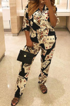 Black Button Fly Mid Print Straight Pants  Two-piece suit