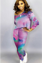 Pink Cotton Sexy Two Piece Suits Print pencil Long Sleeve