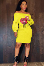 Yellow Sexy Fashion lantern sleeve Off The Shoulder Long Sleeves One word collar Step Skirt Knee-Length Pat