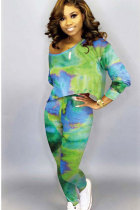 Green Cotton Sexy Two Piece Suits Print pencil Long Sleeve