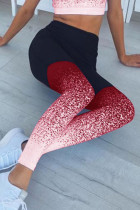 Red Milk Silk Elastic Fly High Gradient Skinny Pants Bottoms