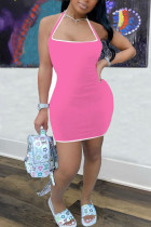 Pink Polyester Fashion adult Ma'am Street Off The Shoulder Sleeveless Halter Neck Step Skirt skirt Solid Dresses