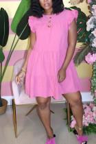 rose red Sweet Ruffled Sleeve Sleeveless O-neck Cake Dress Knee-Length Solid Dresses