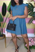 Blue Sweet Ruffled Sleeve Sleeveless O-neck Cake Dress Knee-Length Solid Dresses