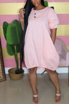 Pink Casual  Bubble sleeves Short Sleeves O neck Lantern skirt Knee-Length Solid Dresses