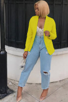 Yellow cardigan Solid Patchwork Polyester Long Sleeve  Blazer & Suits &Jacket